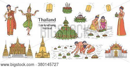 Loy Krathong - Thailand Light Festival Symbol Set Isolated On White Background.