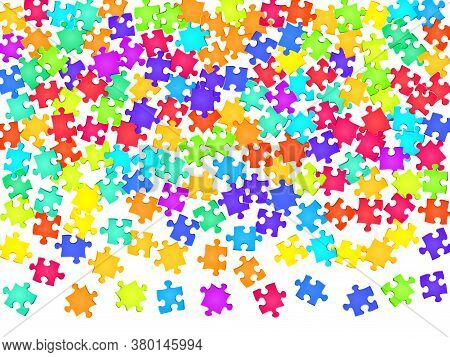 Game Riddle Jigsaw Puzzle Rainbow Colors Pieces Vector Background. Group Of Puzzle Pieces Isolated O