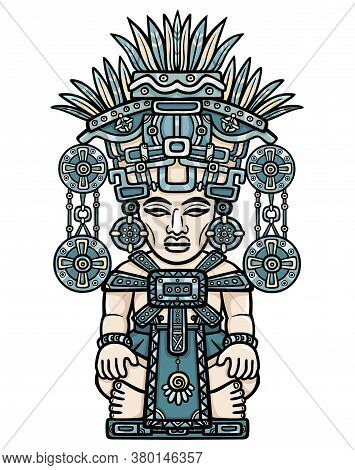 Linear Color Drawing: Decorative Image Of An Ancient Deity. Motives Of Art Of Indians Maya.  The Iso