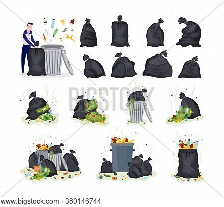 Set Of Garbage Items - Plastic Bags, Rubbish And Man Flat Vector Illustration.