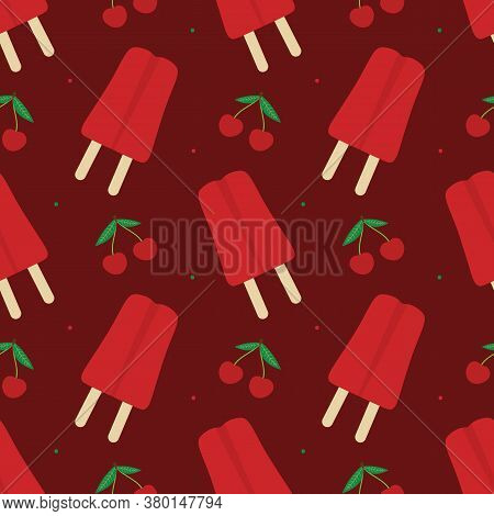 Vector Seamless Pattern Background For National Cherry Popsicle Day In Usa, With Popsicles And Fresh