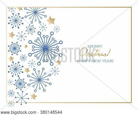 Christmas Greetings. Winter Holiday Greetings With Snowflakes And Stars. Elements Ornaments Greeting
