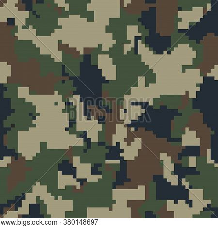 Pixel Camo. Seamless Digital Camouflage Pattern. Military Camouflage Texture. Green, Brown. Forest,