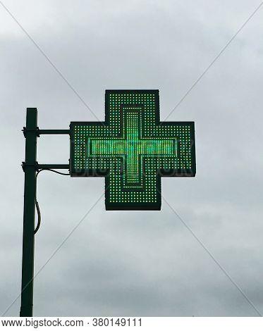 European Green Cross Pharmacy Store Sign: Farmacia. Pharmacy Sign.