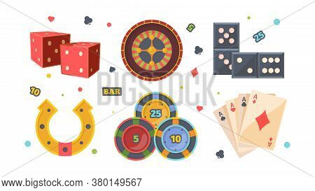 Casino Gambling Set. Red Square Dice Roulette With Bets Dominoes Yellow Horseshoe Of Luck Poker Chip