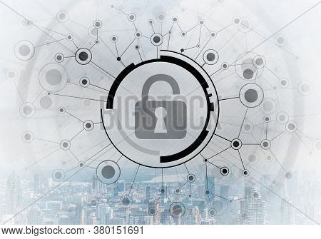 Cybersecurity Mixed Media With Virtual Locking Padlock On Cityscape Background. Data Privacy Protect