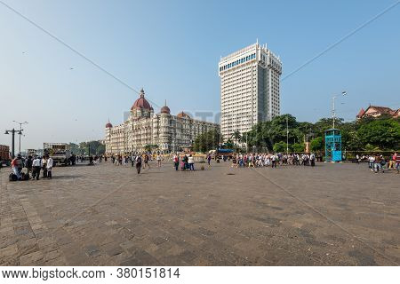 Mumbai, India - November 22, 2019: Tourists In The Square In Front Of The Gateway Of India In Mumbai