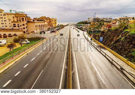 Fuengirola, Malaga, Spain - January 25, 2020: Road Through Fuengirola City. Costa Del Sol, Andalusia