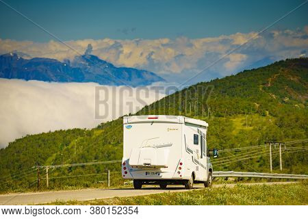 Vikafjellet, Norway - July 5, 2018: Bavaria Caravan On Road In Vikafjellet Between Vinje - Vik In St
