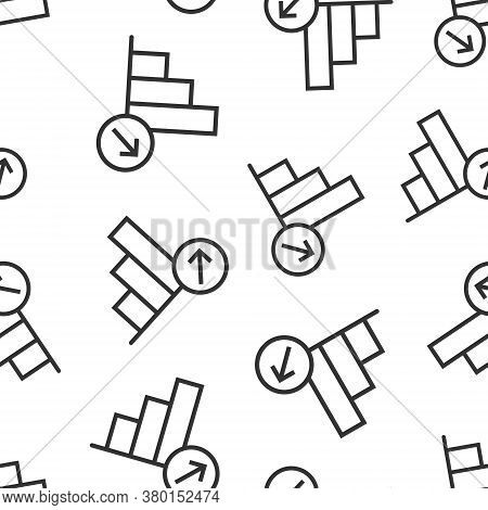 Market Trend Icon In Flat Style. Growth Arrow With Magnifier Vector Illustration On White Isolated B