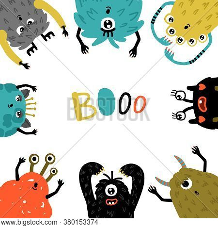 Cartoon Monsters Frame. Mascot Humor Characters Round Template, Little Funny Furry Symbols Of Horror