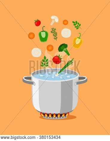 Pan With Soup. Cartoon Pot With Boiling Water And Cooking Ingredients, Gas Flaming Burner For High T