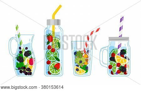 Cooling Drinks With Fruits. Cartoon Glasses With Cocktails, Hand Drawn Cool Beverages With Fresh Fru