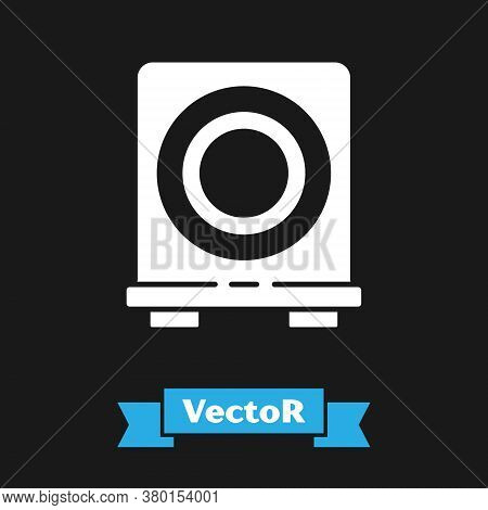 White Electric Stove Icon Isolated On Black Background. Cooktop Sign. Hob With Four Circle Burners.