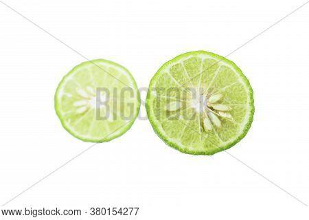 Half Of Bergamot Isolated On White Background,fresh Bergamot Fruit ,herbs Or Organic Cosmetics