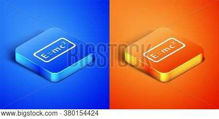 Isometric Math System Of Equation Solution Icon Isolated On Blue And Orange Background. E Equals Mc