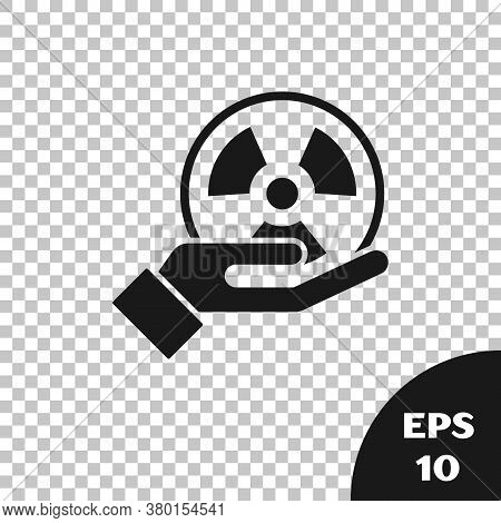Black Radioactive In Hand Icon Isolated On Transparent Background. Radioactive Toxic Symbol. Radiati