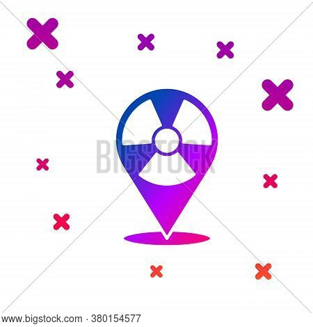 Color Radioactive In Location Icon Isolated On White Background. Radioactive Toxic Symbol. Radiation