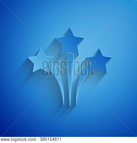 Paper Cut Firework Icon Isolated On Blue Background. Concept Of Fun Party. Explosive Pyrotechnic Sym