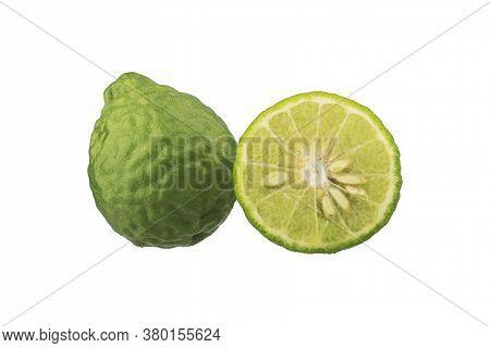 Closeup Fresh Green Bergamot Isolated On White Background, Bergamot Fruit With Cut In Half