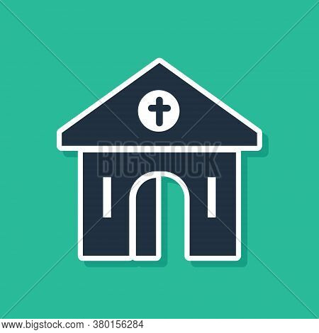 Blue Church Building Icon Isolated On Green Background. Christian Church. Religion Of Church. Vector