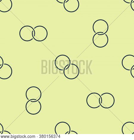 Blue Wedding Rings Icon Isolated Seamless Pattern On Yellow Background. Bride And Groom Jewelry Sign
