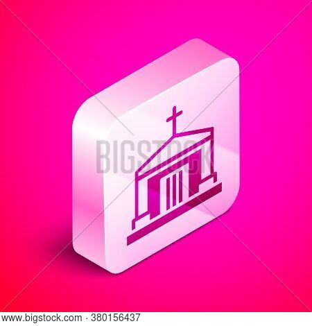 Isometric Old Crypt Icon Isolated On Pink Background. Cemetery Symbol. Ossuary Or Crypt For Burial O