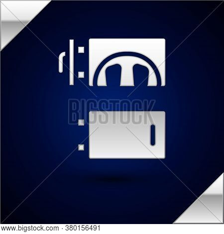 Silver Crematorium Icon Isolated On Dark Blue Background. Vector