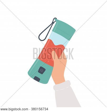 Hand Holding A Portable Blender For Smoothies And Mixed Drink. Hand Drawn Vector Illustration