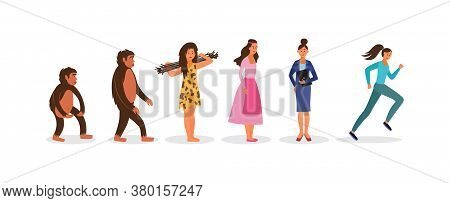 Human Evolution Female Characters Set Flat Vector Illustration Isolated.