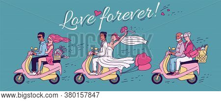 Love Forever Banner With Various Couples On Scooter Cartoon Vector Illustration.