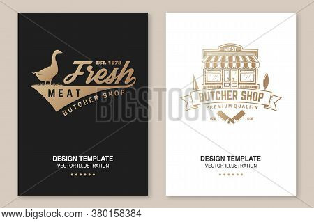Butcher Meat Shop Badge Or Label With Goose And Kitchen Knife. Vector. Vintage Typography Logo Desig