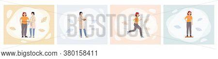 Sport Nutritionist Banner Set - Female Nutrition Doctor Helping Cartoon Woman