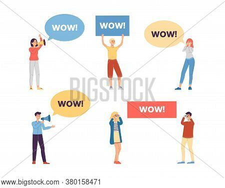 Cartoon People Holding And Shouting Wow - Isolated Set
