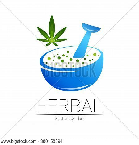 Organic Vector Symbol In Blue And Green Color. Concept Logo With Cannabis For Business. Herbal Sign