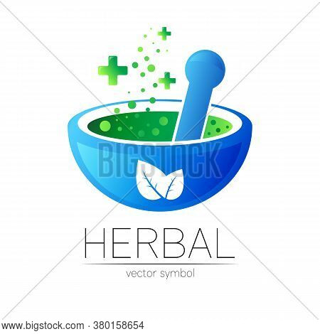 Alternative Medical Logo With Blue Mortar, Pestle And Green Leaves. Natural Therapy Sign For Identit