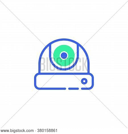 Surveillance Camera Icon Vector, Filled Flat Sign, Cctv Camera Bicolor Pictogram, Green And Blue Col