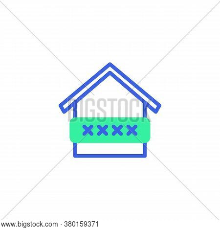 Smart Home Security Code Icon Vector, Filled Flat Sign, Home Protection Password Bicolor Pictogram,