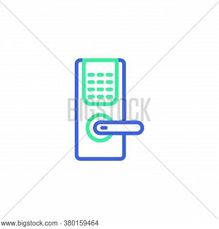 Door Handle Lock Icon Vector, Filled Flat Sign, Smart Lock With Keypad Bicolor Pictogram, Green And