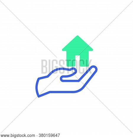 Hand With Home Icon Vector, Filled Flat Sign, Home Protection Bicolor Pictogram, Green And Blue Colo