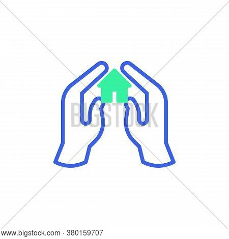 Home Protection Icon Vector, Filled Flat Sign, Hands With Home Bicolor Pictogram, Green And Blue Col