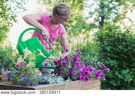 Young Caucasian Woman Gardener Planting Flowers In Wooden Container Pot Outside, Outdoors Planting L