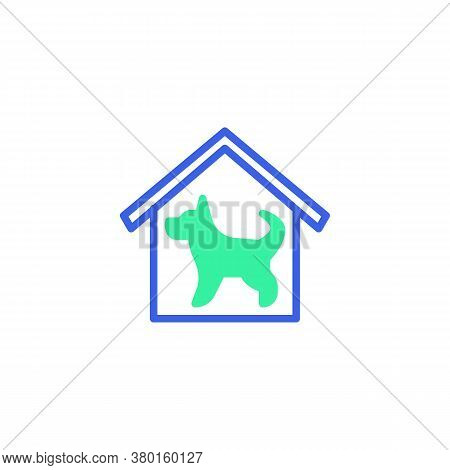 House With Dog Icon Vector, Filled Flat Sign, Home Security Dog Bicolor Pictogram, Green And Blue Co