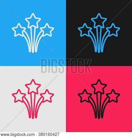 Pop Art Line Firework Icon Isolated On Color Background. Concept Of Fun Party. Explosive Pyrotechnic