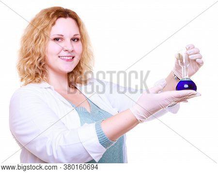 Chemist Woman Holds Test Flask