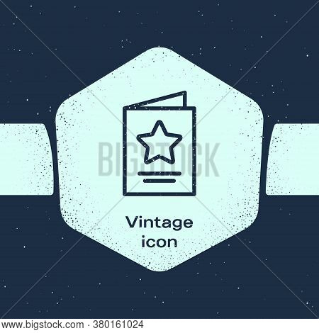 Grunge Line Greeting Card Icon Isolated On Blue Background. Celebration Poster Template For Invitati