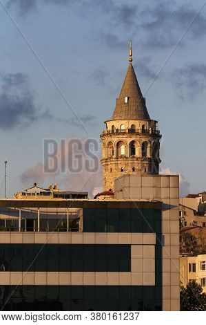 Galata Tower In Beyoglu District, Istanbul City, Turkey