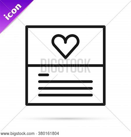 Black Line Greeting Card Icon Isolated On White Background. Celebration Poster Template For Invitati