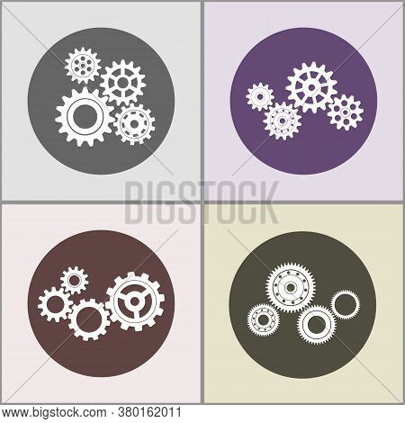 Metal Gears. Factory Gears Vector Icon. The Image Of The Gear. Cogwheel Gear. Set Of Gears.