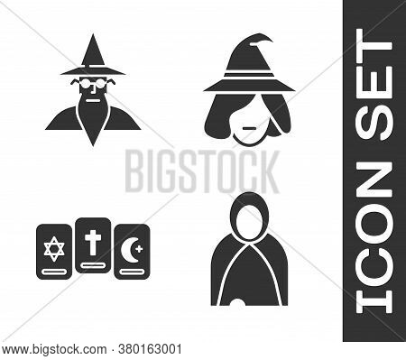Set Mantle, Cloak, Cape, Wizard Warlock, Three Tarot Cards And Witch Icon. Vector
